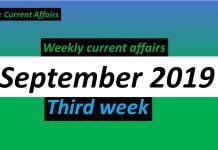 September 3rd week current affairs 2019