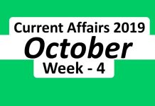October 4 week current affairs 2019